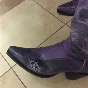 Shoes - Purple leather TCU boots